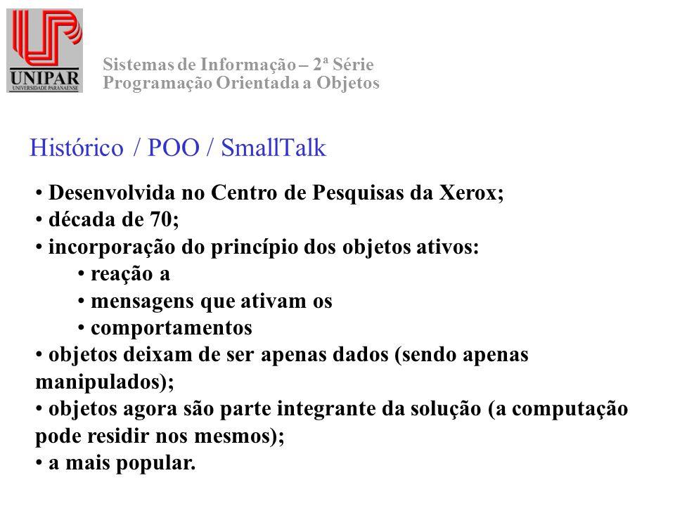 Sistemas de Informação – 2ª Série Programação Orientada a Objetos Histórico / POO / SmallTalk Desenvolvida no Centro de Pesquisas da Xerox; década de