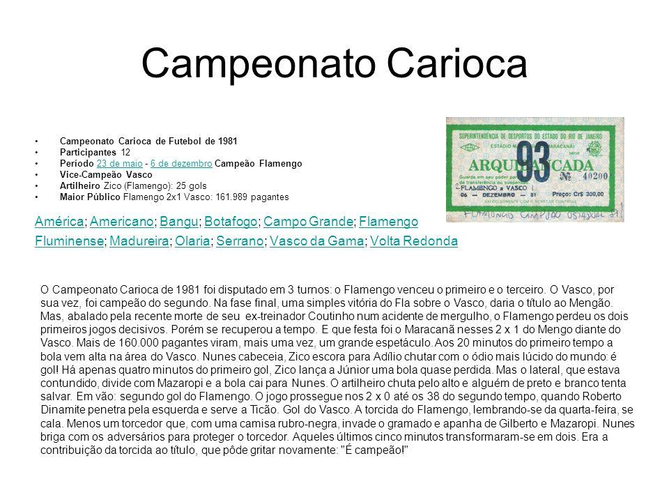 Campeonato Carioca de Futebol de 1981 Participantes 12 Período 23 de maio - 6 de dezembro Campeão Flamengo23 de maio6 de dezembro Vice-Campeão Vasco A