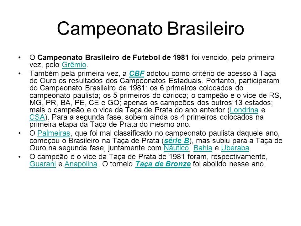 Campeonato Brasileiro O Campeonato Brasileiro de Futebol de 1981 foi vencido, pela primeira vez, pelo Grêmio.Grêmio Também pela primeira vez, a CBF ad