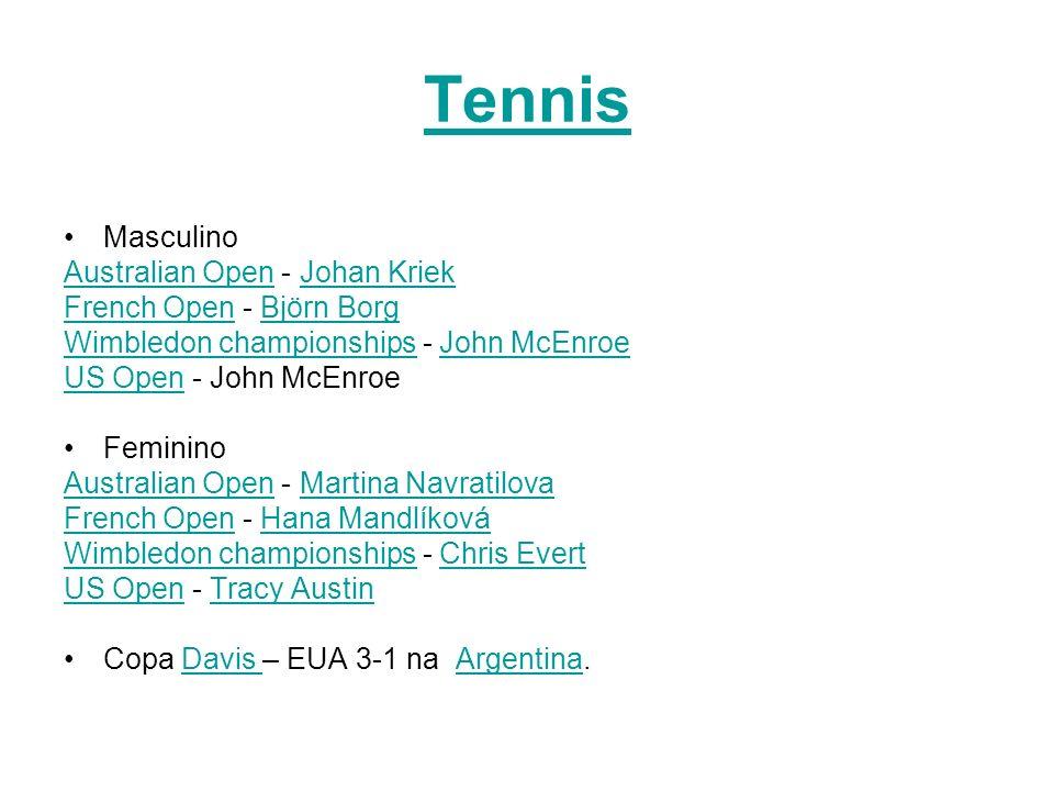 Tennis Masculino Australian OpenAustralian Open - Johan KriekJohan Kriek French OpenFrench Open - Björn BorgBjörn Borg Wimbledon championshipsWimbledo