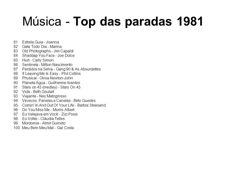 Música - Top das paradas 1981 81Estrela Guia - Joanna 82Gata Todo Dia - Marina 83Old Photographs - Jim Capaldi 84Shaddap You Face - Joe Dolce 85Hurt -