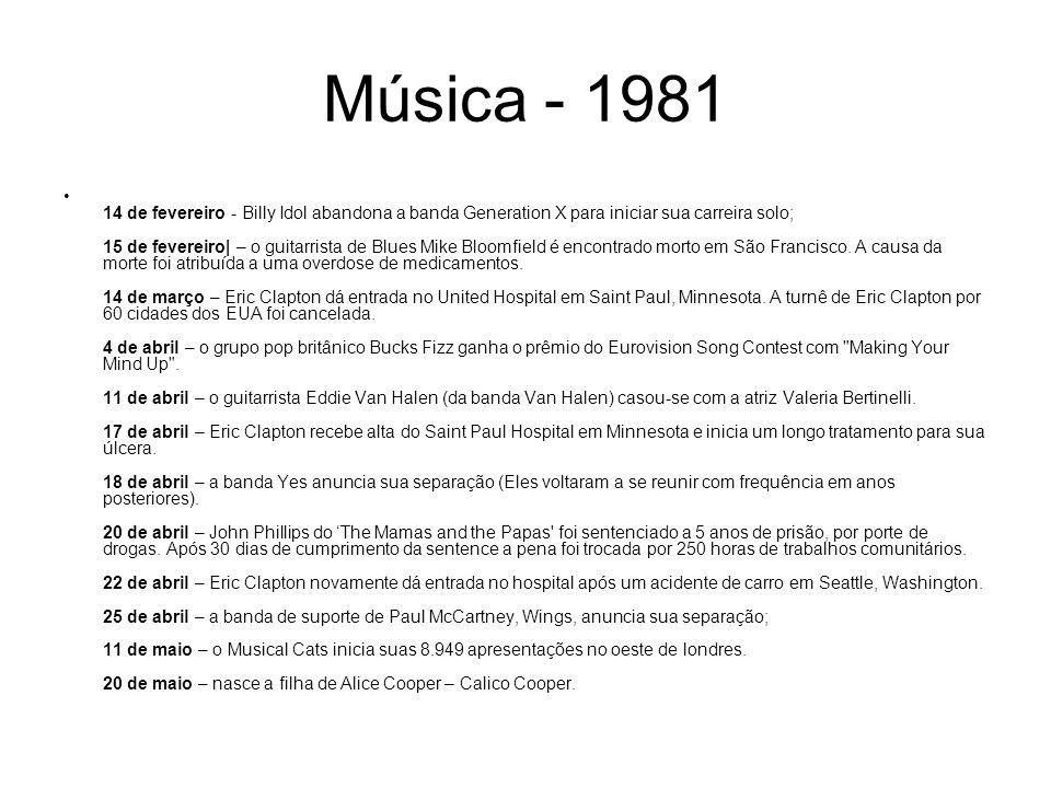 Música - 1981 14 de fevereiro - Billy Idol abandona a banda Generation X para iniciar sua carreira solo; 15 de fevereiro| – o guitarrista de Blues Mik