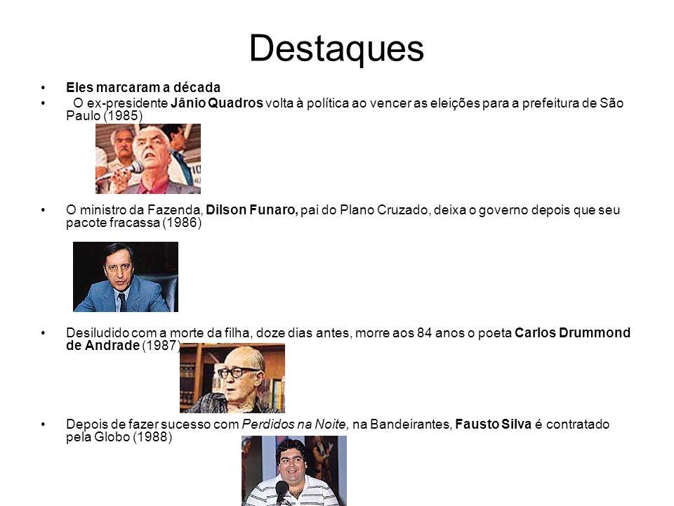 Destaques Eles marcaram a década O ex-presidente Jânio Quadros volta à política ao vencer as eleições para a prefeitura de São Paulo (1985) O ministro