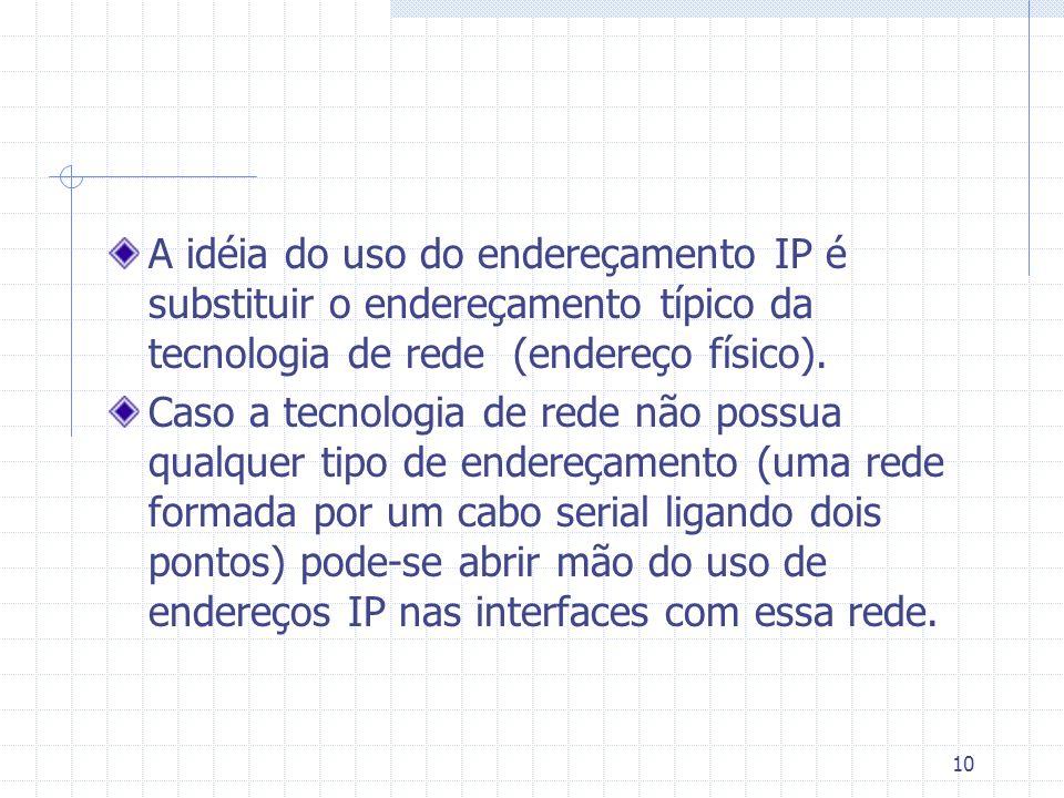 10 A idéia do uso do endereçamento IP é substituir o endereçamento típico da tecnologia de rede (endereço físico). Caso a tecnologia de rede não possu