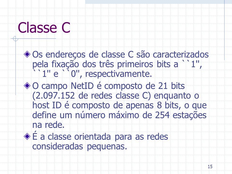 15 Classe C Os endereços de classe C são caracterizados pela fixação dos três primeiros bits a ``1'', ``1'' e ``0'', respectivamente. O campo NetID é