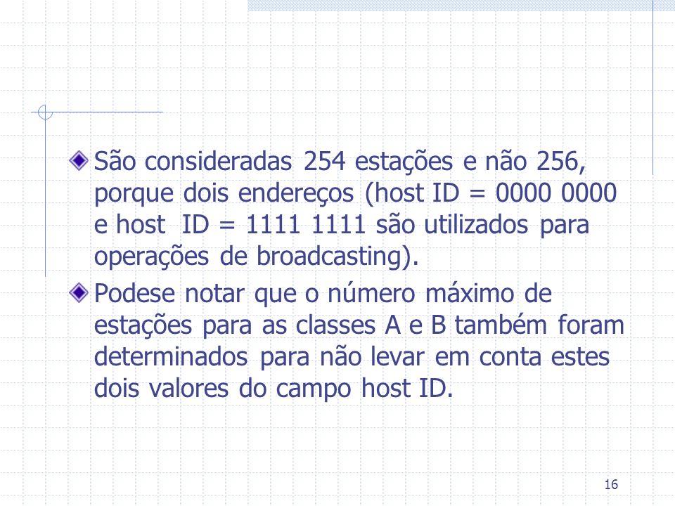 16 São consideradas 254 estações e não 256, porque dois endereços (host ID = 0000 0000 e host ID = 1111 1111 são utilizados para operações de broadcas