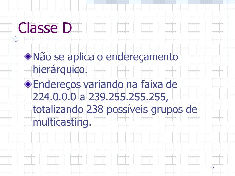 21 Classe D Não se aplica o endereçamento hierárquico. Endereços variando na faixa de 224.0.0.0 a 239.255.255.255, totalizando 238 possíveis grupos de