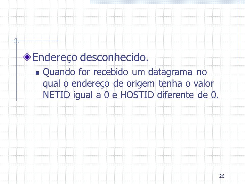 26 Endereço desconhecido. Quando for recebido um datagrama no qual o endereço de origem tenha o valor NETID igual a 0 e HOSTID diferente de 0.