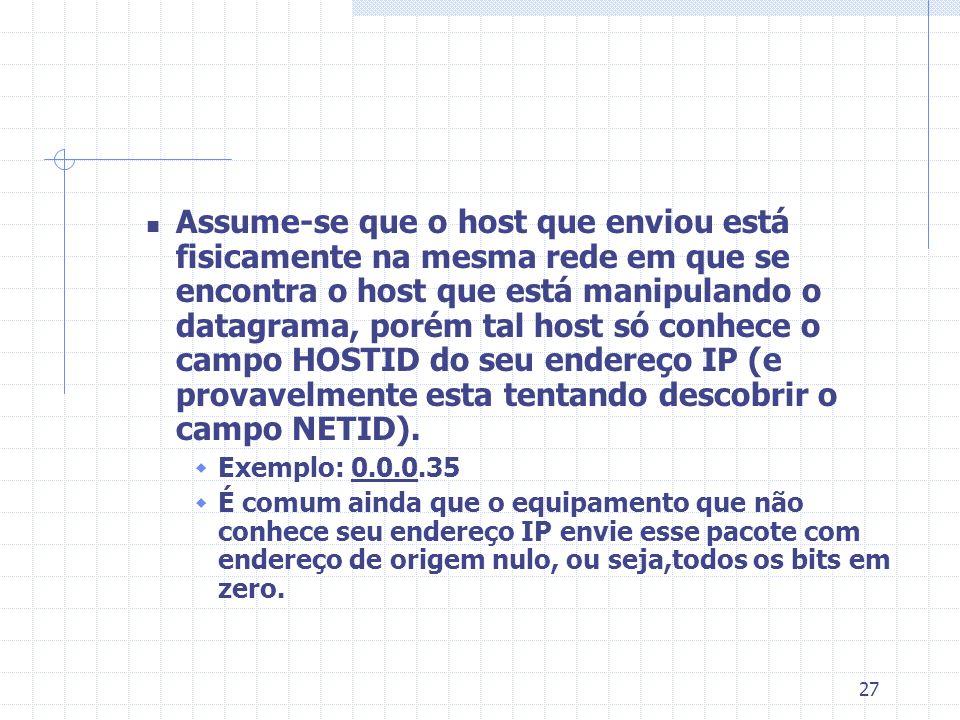 27 Assume-se que o host que enviou está fisicamente na mesma rede em que se encontra o host que está manipulando o datagrama, porém tal host só conhec