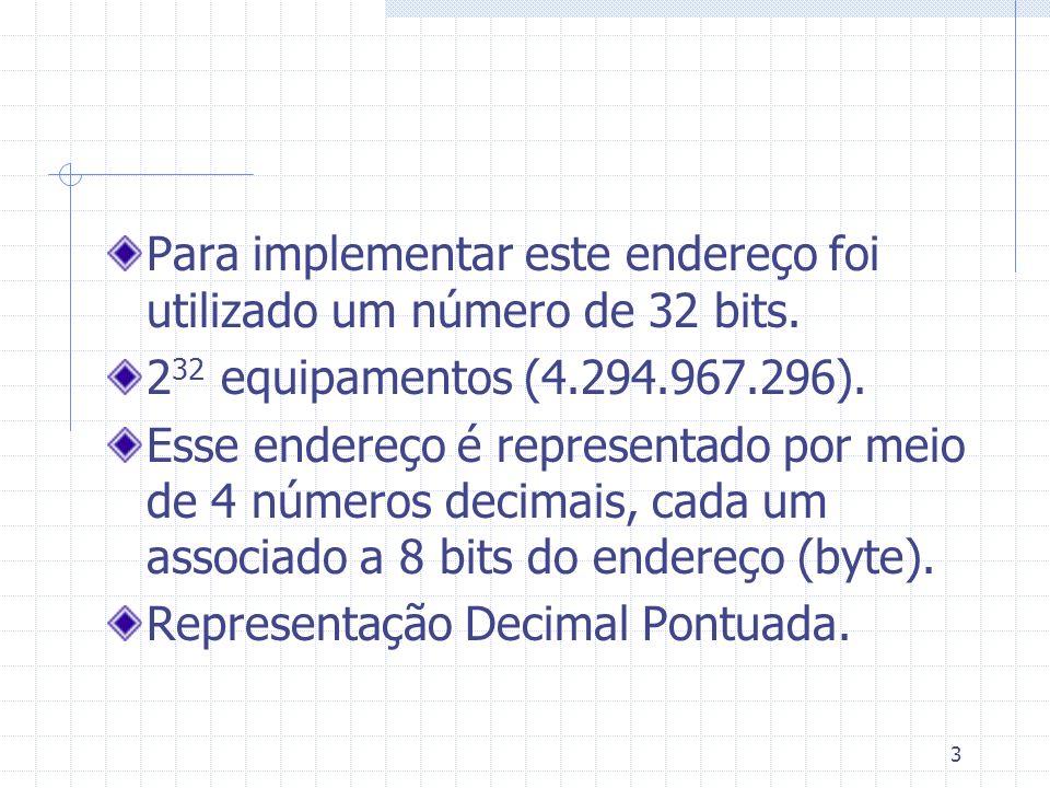 3 Para implementar este endereço foi utilizado um número de 32 bits. 2 32 equipamentos (4.294.967.296). Esse endereço é representado por meio de 4 núm