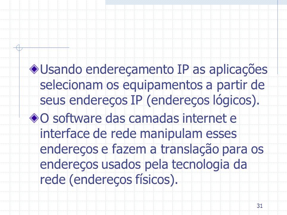31 Usando endereçamento IP as aplicações selecionam os equipamentos a partir de seus endereços IP (endereços lógicos). O software das camadas internet