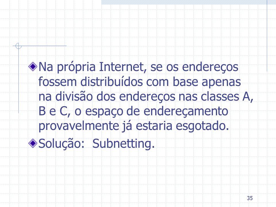 35 Na própria Internet, se os endereços fossem distribuídos com base apenas na divisão dos endereços nas classes A, B e C, o espaço de endereçamento p