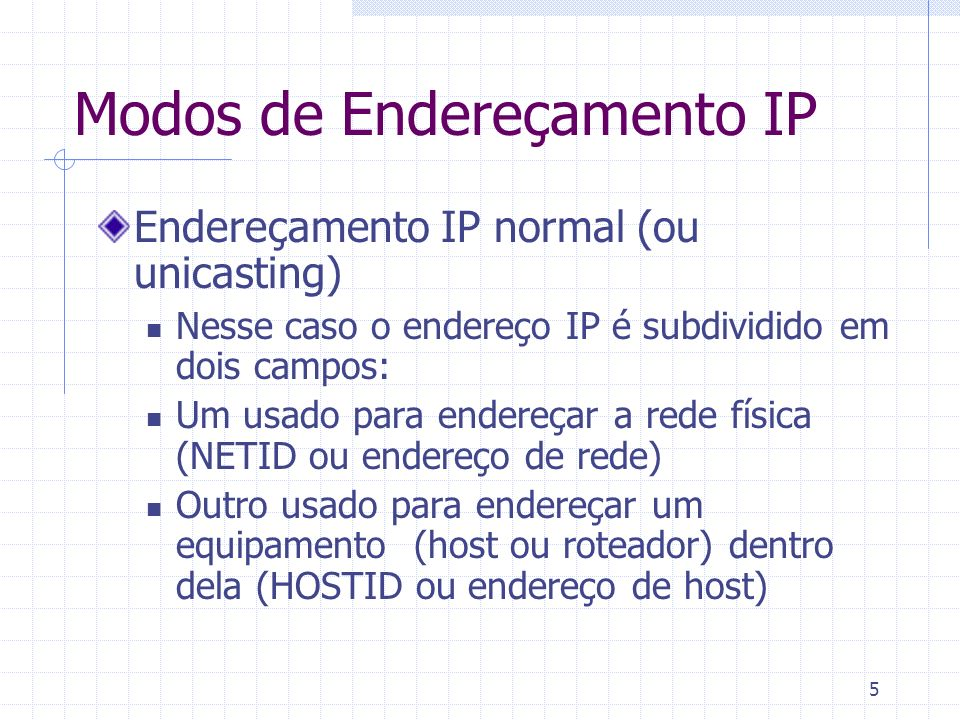 5 Modos de Endereçamento IP Endereçamento IP normal (ou unicasting) Nesse caso o endereço IP é subdividido em dois campos: Um usado para endereçar a r