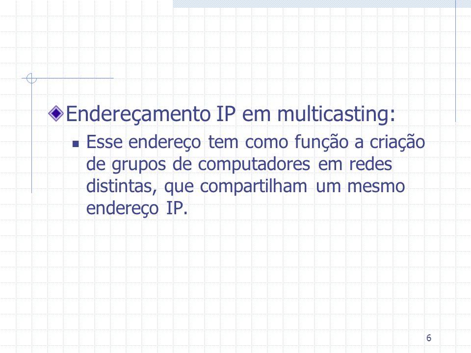 6 Endereçamento IP em multicasting: Esse endereço tem como função a criação de grupos de computadores em redes distintas, que compartilham um mesmo en