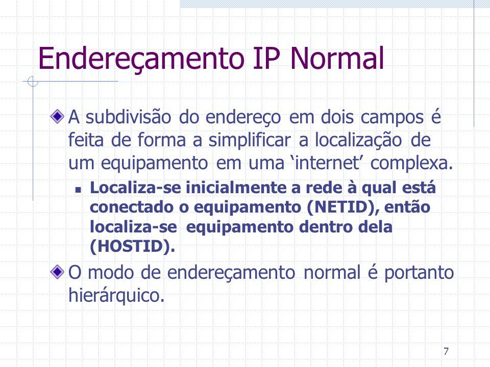 7 Endereçamento IP Normal A subdivisão do endereço em dois campos é feita de forma a simplificar a localização de um equipamento em uma internet compl