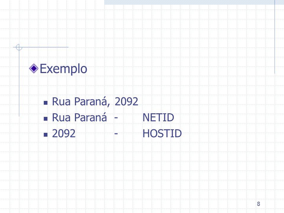 19 Classe B Redes válidas 128.0.0.0 a 191.255.0.0 Hosts válidos 128.0.0.1 a 191.255.255.254 Número de redes 2 14 Número de hosts/redes 2 16 - 2