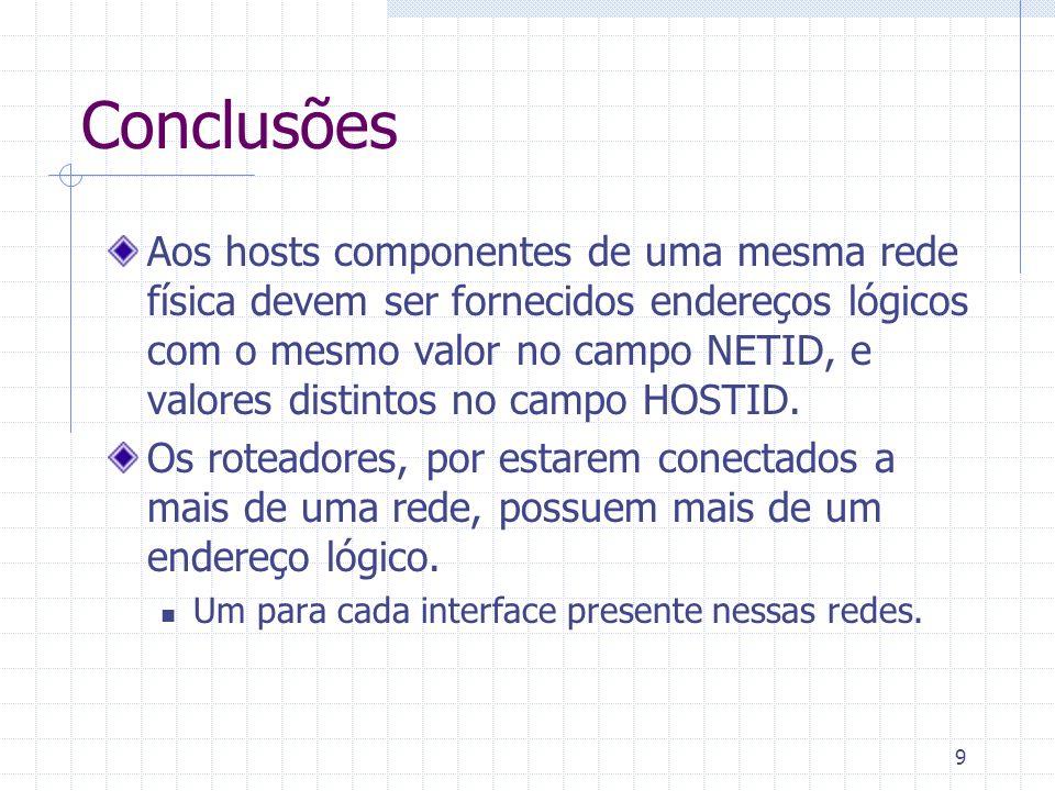 9 Conclusões Aos hosts componentes de uma mesma rede física devem ser fornecidos endereços lógicos com o mesmo valor no campo NETID, e valores distint