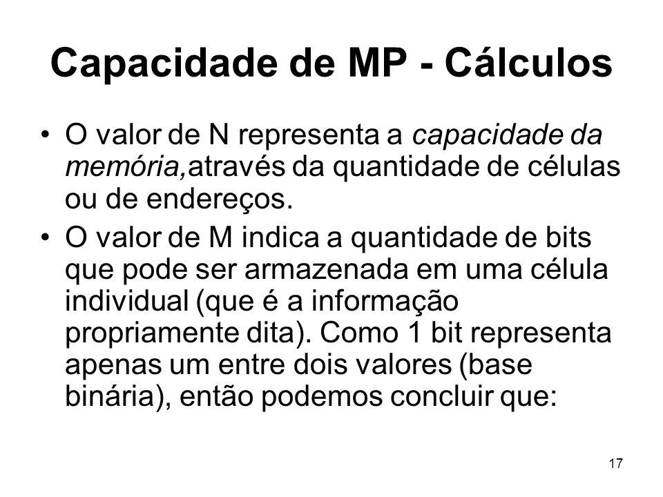 Capacidade de MP - Cálculos O valor de N representa a capacidade da memória,através da quantidade de células ou de endereços. O valor de M indica a qu