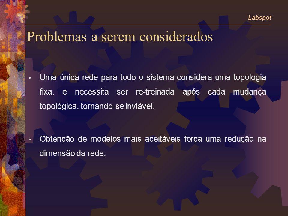 Problemas a serem considerados Uma única rede para todo o sistema considera uma topologia fixa, e necessita ser re-treinada após cada mudança topológica, tornando-se inviável.