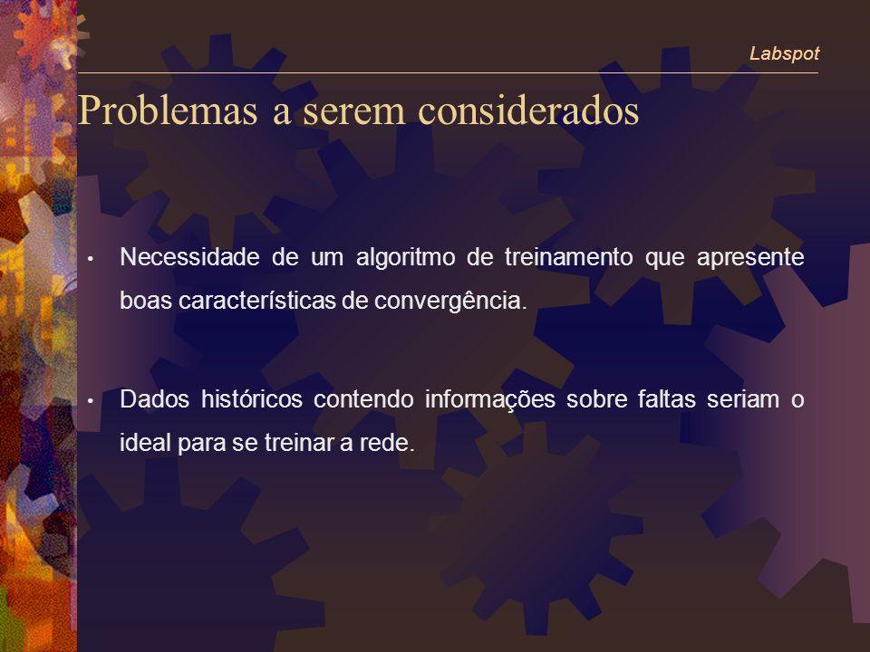 Problemas a serem considerados Necessidade de um algoritmo de treinamento que apresente boas características de convergência.