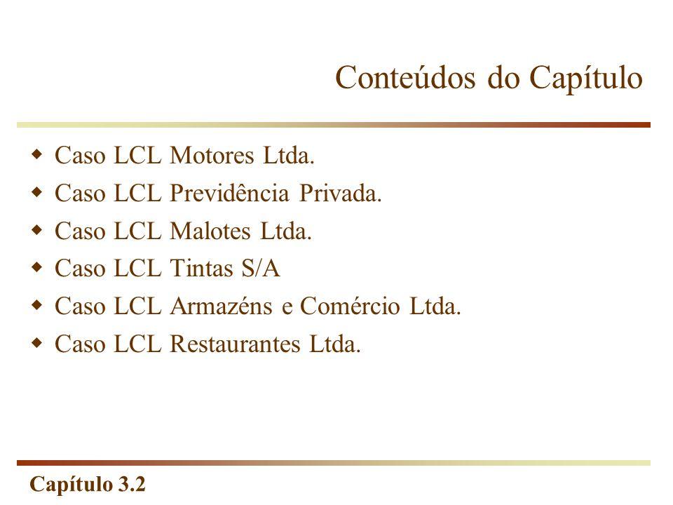 Capítulo 3.2 Conteúdos do Capítulo Caso LCL Motores Ltda. Caso LCL Previdência Privada. Caso LCL Malotes Ltda. Caso LCL Tintas S/A Caso LCL Armazéns e