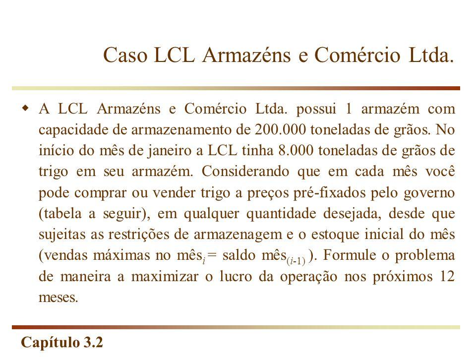 Capítulo 3.2 Caso LCL Armazéns e Comércio Ltda. A LCL Armazéns e Comércio Ltda. possui 1 armazém com capacidade de armazenamento de 200.000 toneladas