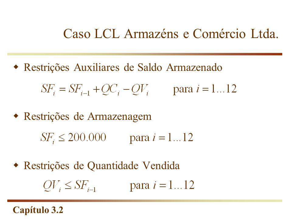Capítulo 3.2 Restrições Auxiliares de Saldo Armazenado Restrições de Armazenagem Restrições de Quantidade Vendida Caso LCL Armazéns e Comércio Ltda.