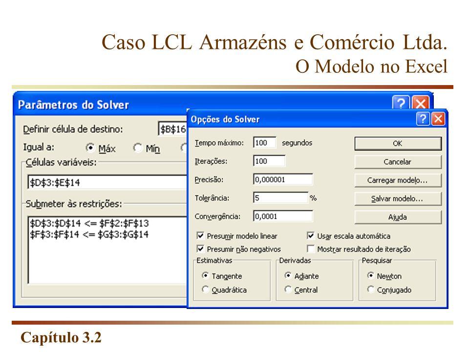 Capítulo 3.2 Caso LCL Armazéns e Comércio Ltda. O Modelo no Excel