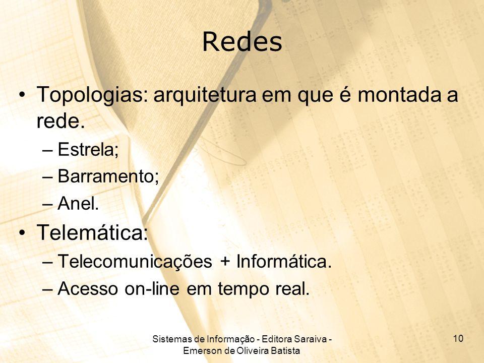 Sistemas de Informação - Editora Saraiva - Emerson de Oliveira Batista 10 Redes Topologias: arquitetura em que é montada a rede. –Estrela; –Barramento