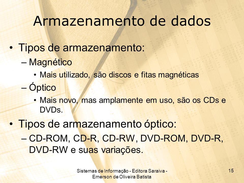 Sistemas de Informação - Editora Saraiva - Emerson de Oliveira Batista 15 Armazenamento de dados Tipos de armazenamento: –Magnético Mais utilizado, sã