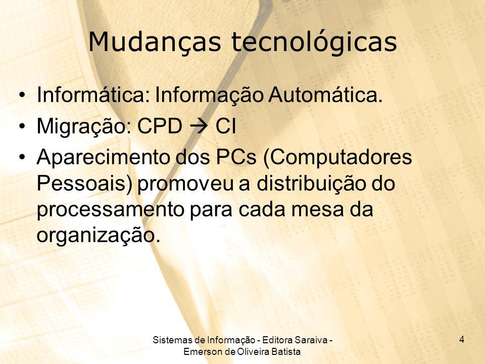 Sistemas de Informação - Editora Saraiva - Emerson de Oliveira Batista 15 Armazenamento de dados Tipos de armazenamento: –Magnético Mais utilizado, são discos e fitas magnéticas –Óptico Mais novo, mas amplamente em uso, são os CDs e DVDs.