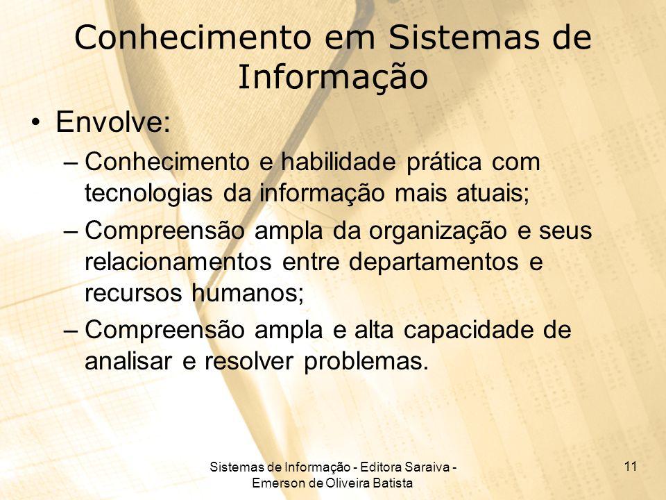 Sistemas de Informação - Editora Saraiva - Emerson de Oliveira Batista 11 Conhecimento em Sistemas de Informação Envolve: –Conhecimento e habilidade p