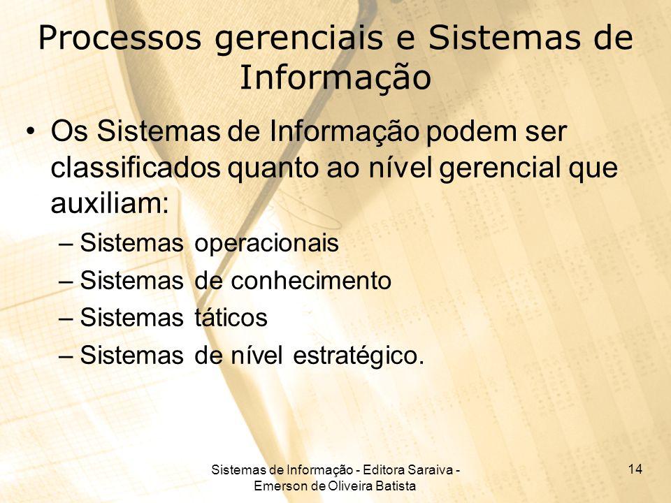 Sistemas de Informação - Editora Saraiva - Emerson de Oliveira Batista 14 Processos gerenciais e Sistemas de Informação Os Sistemas de Informação pode