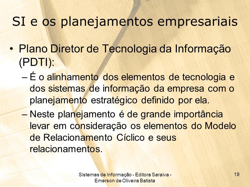 Sistemas de Informação - Editora Saraiva - Emerson de Oliveira Batista 19 SI e os planejamentos empresariais Plano Diretor de Tecnologia da Informação