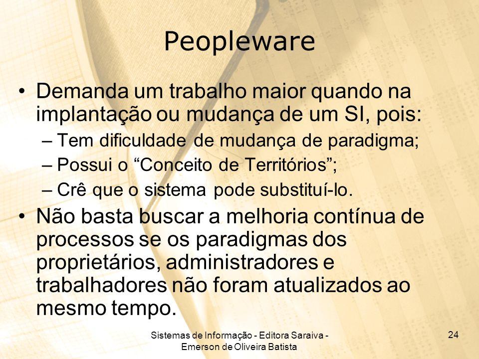 Sistemas de Informação - Editora Saraiva - Emerson de Oliveira Batista 24 Peopleware Demanda um trabalho maior quando na implantação ou mudança de um