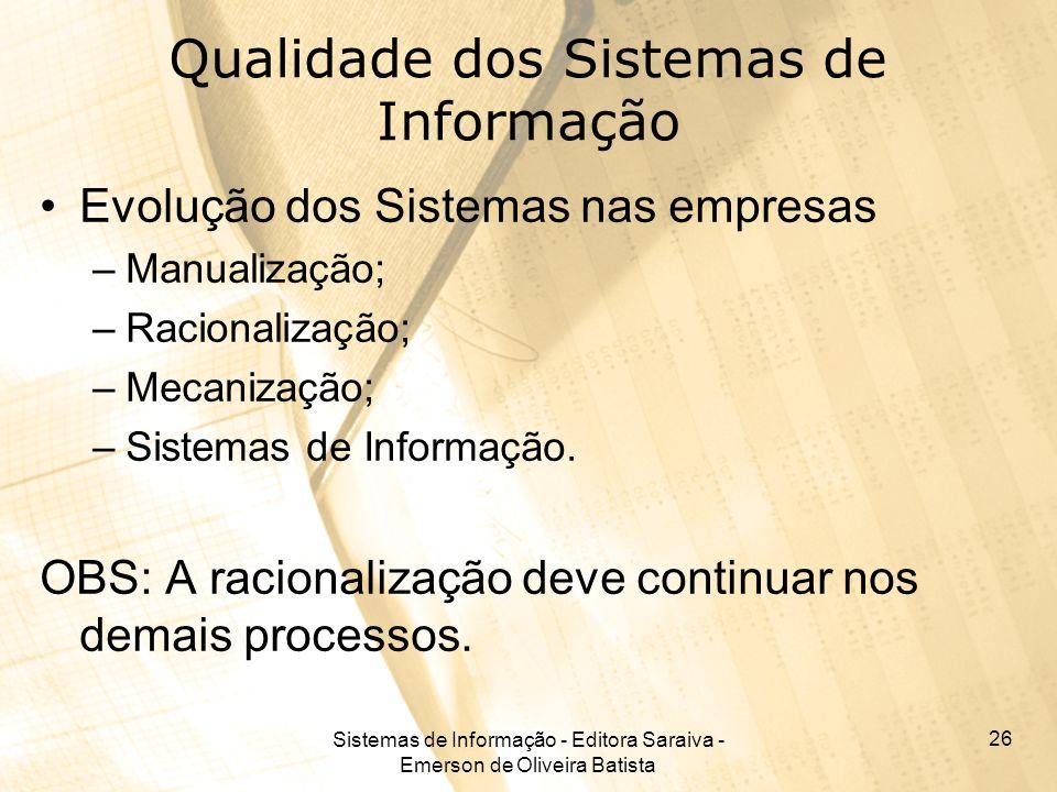 Sistemas de Informação - Editora Saraiva - Emerson de Oliveira Batista 26 Qualidade dos Sistemas de Informação Evolução dos Sistemas nas empresas –Man