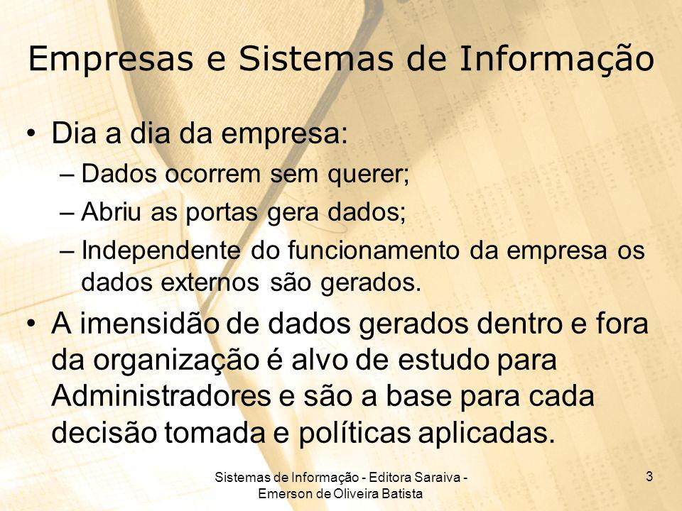 Sistemas de Informação - Editora Saraiva - Emerson de Oliveira Batista 3 Empresas e Sistemas de Informação Dia a dia da empresa: –Dados ocorrem sem qu