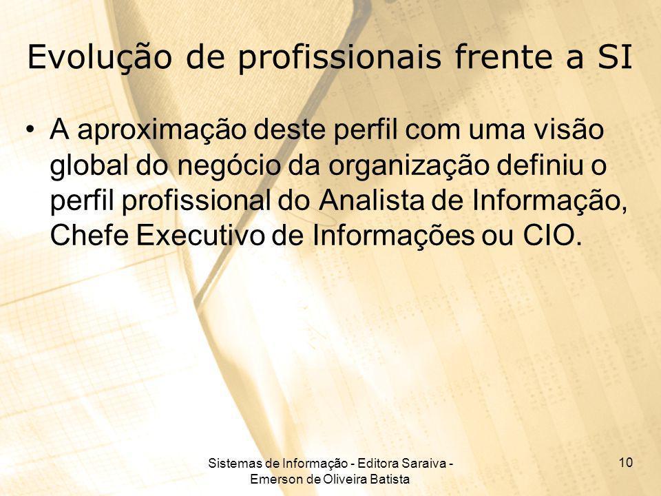 Sistemas de Informação - Editora Saraiva - Emerson de Oliveira Batista 10 Evolução de profissionais frente a SI A aproximação deste perfil com uma vis