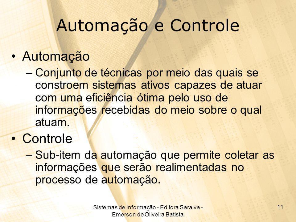Sistemas de Informação - Editora Saraiva - Emerson de Oliveira Batista 11 Automação e Controle Automação –Conjunto de técnicas por meio das quais se c