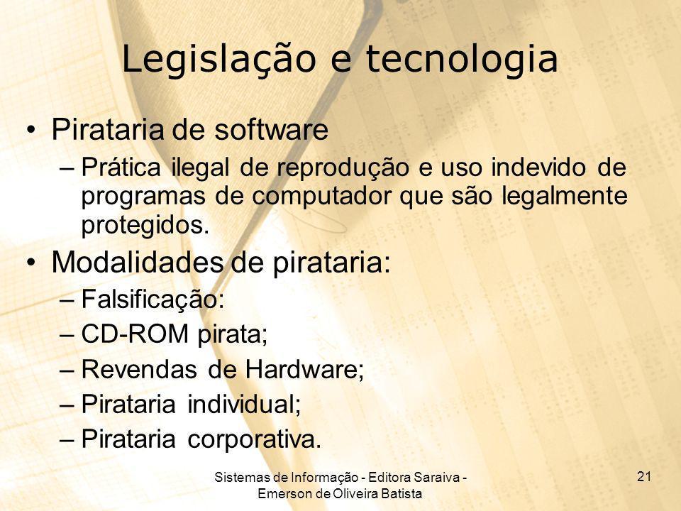 Sistemas de Informação - Editora Saraiva - Emerson de Oliveira Batista 21 Legislação e tecnologia Pirataria de software –Prática ilegal de reprodução