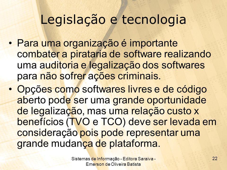 Sistemas de Informação - Editora Saraiva - Emerson de Oliveira Batista 22 Legislação e tecnologia Para uma organização é importante combater a piratar