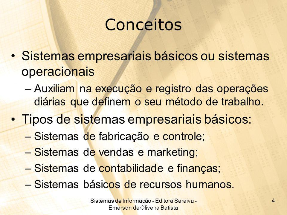 Sistemas de Informação - Editora Saraiva - Emerson de Oliveira Batista 4 Conceitos Sistemas empresariais básicos ou sistemas operacionais –Auxiliam na