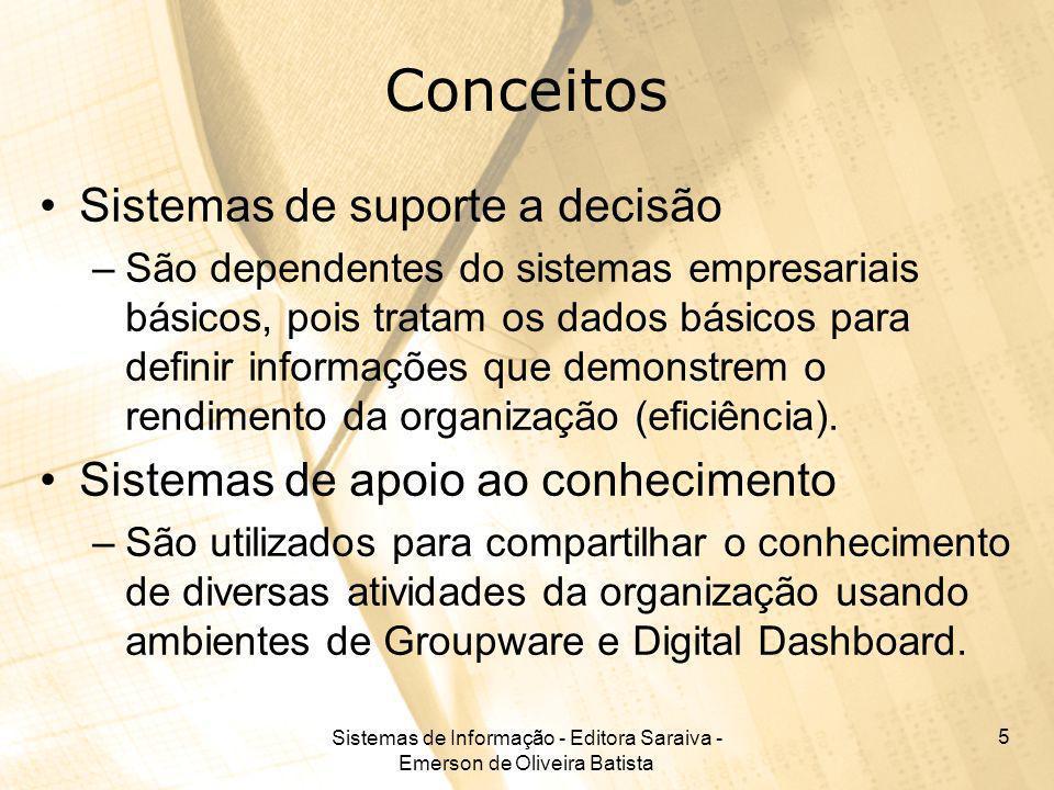Sistemas de Informação - Editora Saraiva - Emerson de Oliveira Batista 5 Conceitos Sistemas de suporte a decisão –São dependentes do sistemas empresar