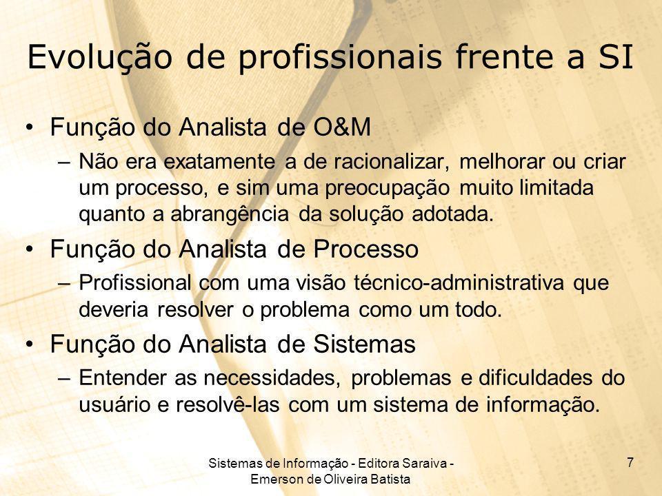 Sistemas de Informação - Editora Saraiva - Emerson de Oliveira Batista 7 Evolução de profissionais frente a SI Função do Analista de O&M –Não era exat