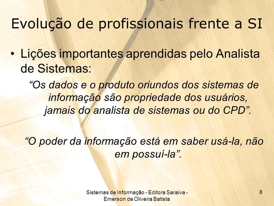 Sistemas de Informação - Editora Saraiva - Emerson de Oliveira Batista 8 Evolução de profissionais frente a SI Lições importantes aprendidas pelo Anal
