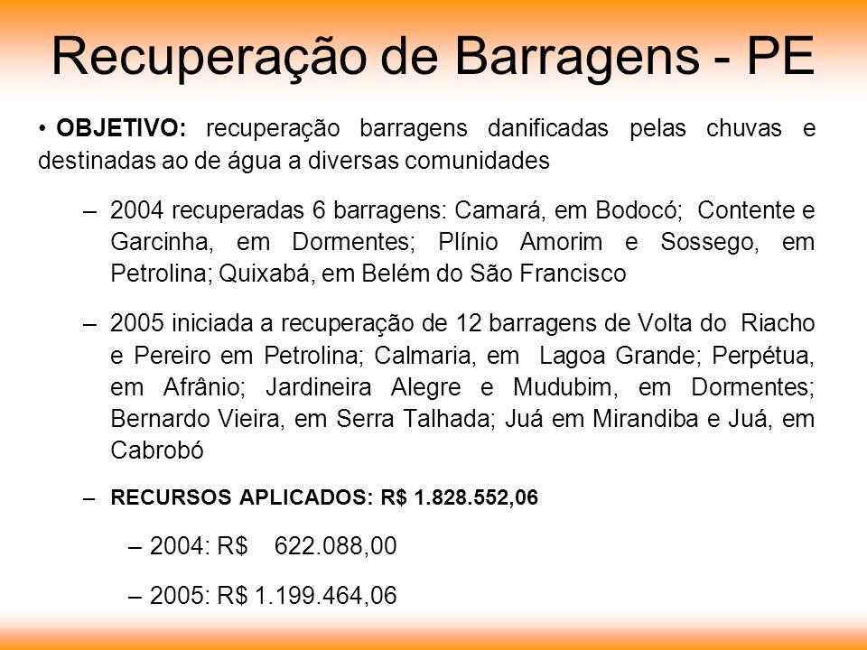 Recuperação de Barragens - PE OBJETIVO: recuperação barragens danificadas pelas chuvas e destinadas ao de água a diversas comunidades –2004 recuperada