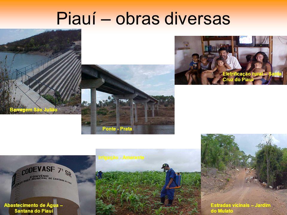 Piauí – obras diversas Barragem São Julião Ponte - Prata Eletrificação rural – Santa Cruz do Piaui Abastecimento de Água – Santana do Piaui Estradas vicinais – Jardim do Mulato Irrigação - Amarante