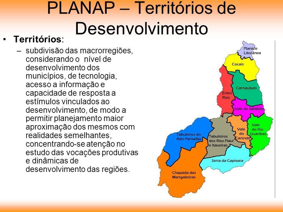 PLANAP – Territórios de Desenvolvimento Territórios: –subdivisão das macrorregiões, considerando o nível de desenvolvimento dos municípios, de tecnolo