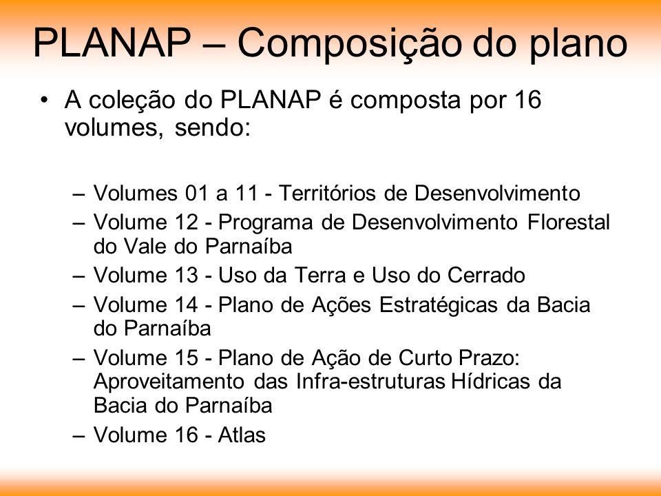 PLANAP – Composição do plano A coleção do PLANAP é composta por 16 volumes, sendo: –Volumes 01 a 11 - Territórios de Desenvolvimento –Volume 12 - Programa de Desenvolvimento Florestal do Vale do Parnaíba –Volume 13 - Uso da Terra e Uso do Cerrado –Volume 14 - Plano de Ações Estratégicas da Bacia do Parnaíba –Volume 15 - Plano de Ação de Curto Prazo: Aproveitamento das Infra-estruturas Hídricas da Bacia do Parnaíba –Volume 16 - Atlas