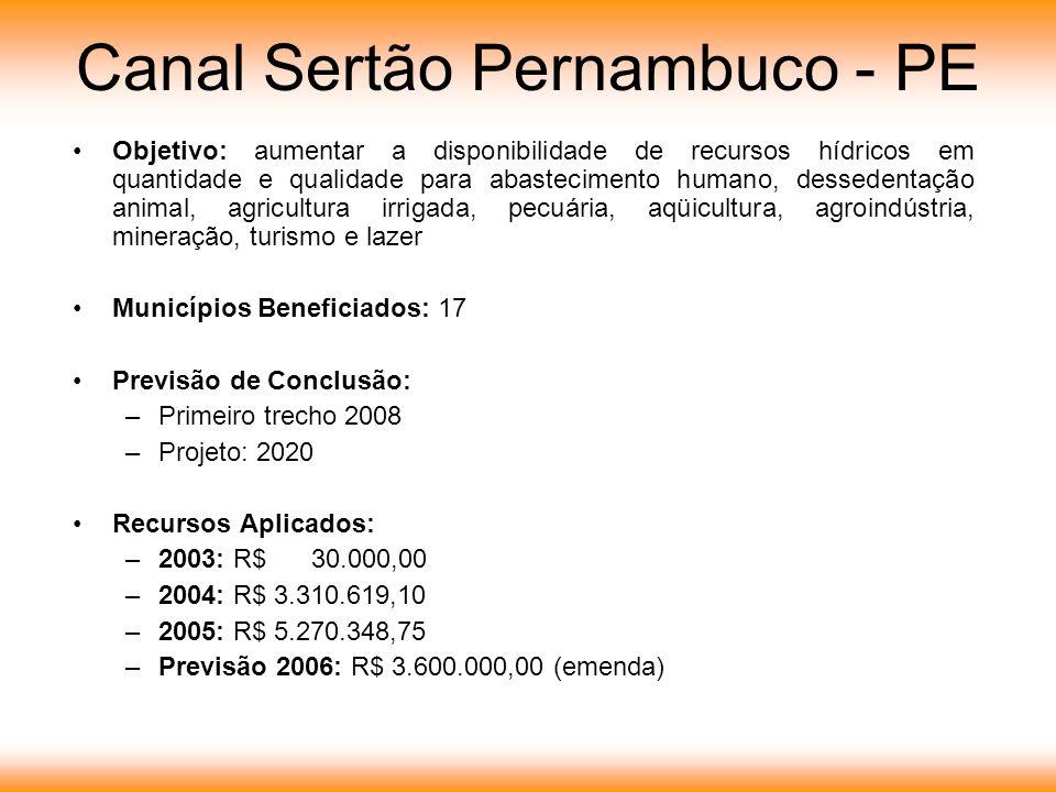 Canal Sertão Pernambuco - PE Objetivo: aumentar a disponibilidade de recursos hídricos em quantidade e qualidade para abastecimento humano, dessedentação animal, agricultura irrigada, pecuária, aqüicultura, agroindústria, mineração, turismo e lazer Municípios Beneficiados: 17 Previsão de Conclusão: –Primeiro trecho 2008 –Projeto: 2020 Recursos Aplicados: –2003: R$ 30.000,00 –2004: R$ 3.310.619,10 –2005: R$ 5.270.348,75 –Previsão 2006: R$ 3.600.000,00 (emenda)